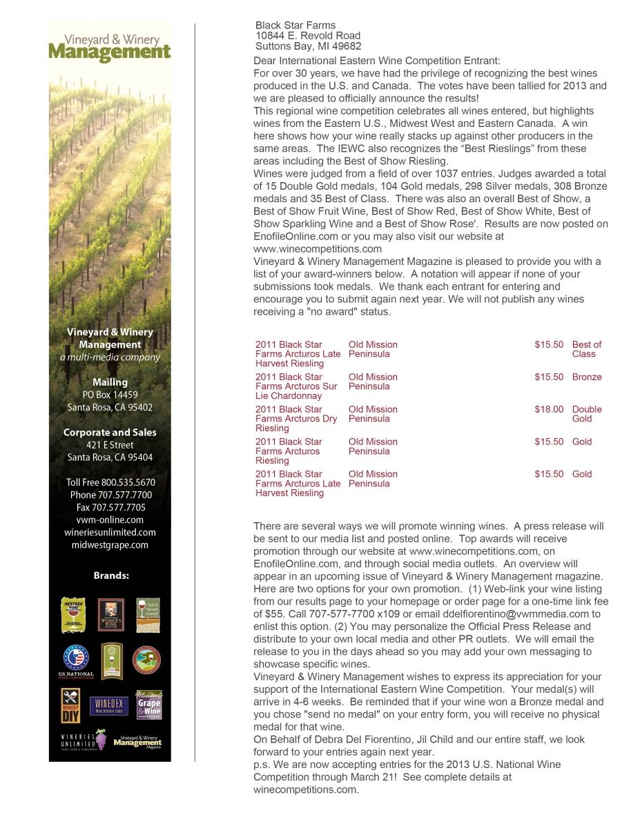 Awards Letter from the International Eastern Wine Competition