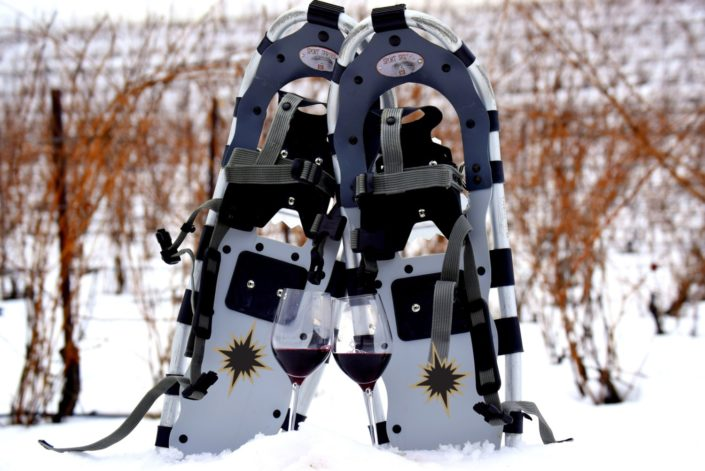 Pair of snowshoes with two glasses of red wine in the vineyard at Black Star Farms Suttons Bay.