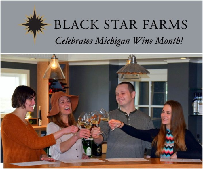 Four people clinking glasses while tasting wine at Black Star Farms Old Mission.