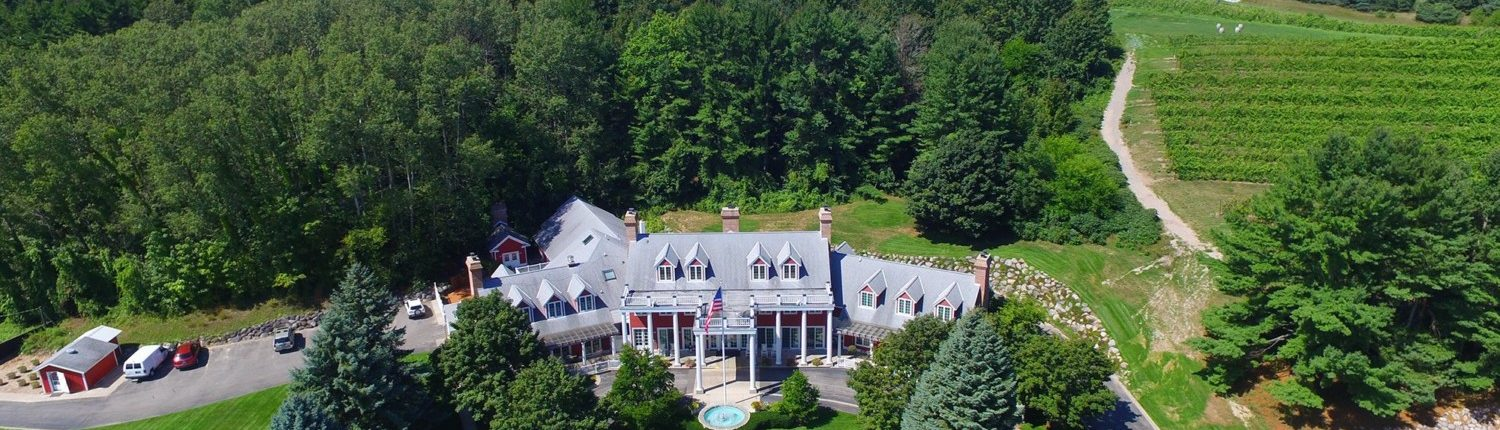 Aerial view of the Inn and vineyard at Black Star Farms Suttons Bay.