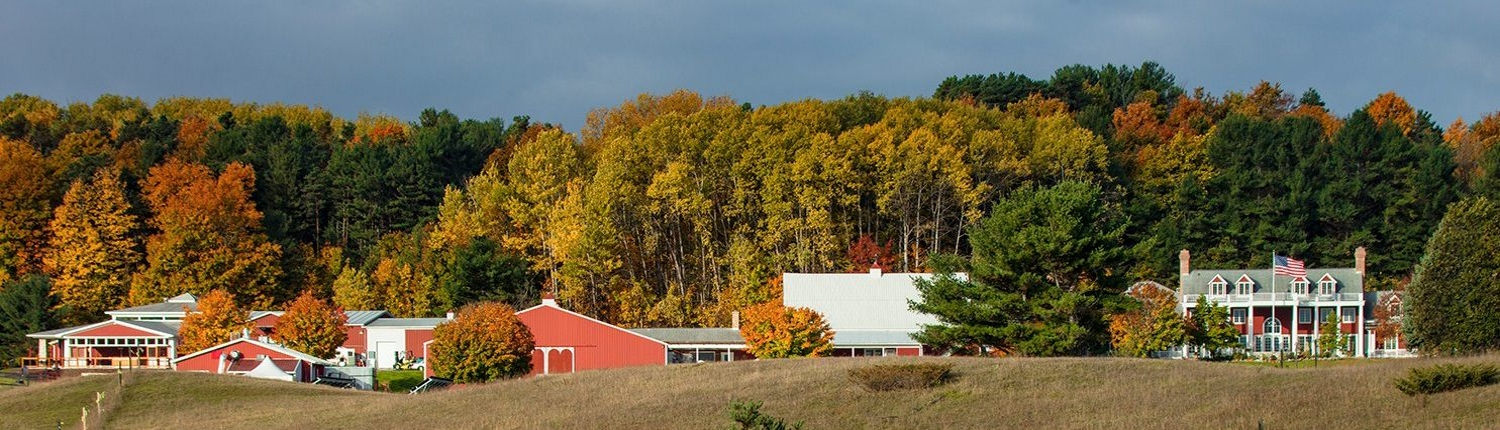 View of Black Star Farms Winery Estate in Suttons Bay with fall colors.
