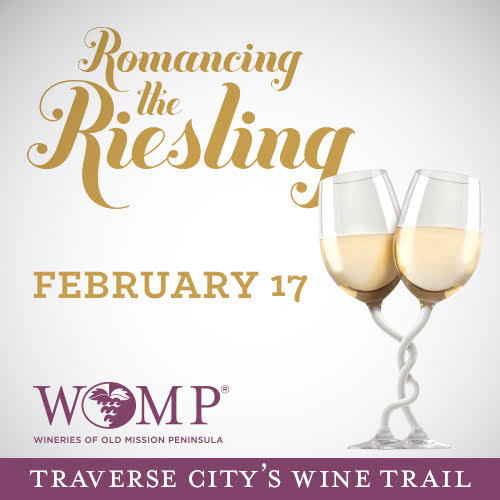 Promotional image for Romancing the Riesling event on the Old Mission Peninsula Wine Trail.