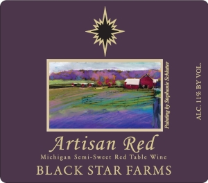 Label for Black Star Farms Artisan Red wine.