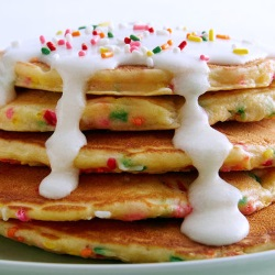 Stack of cake batter pancakes.