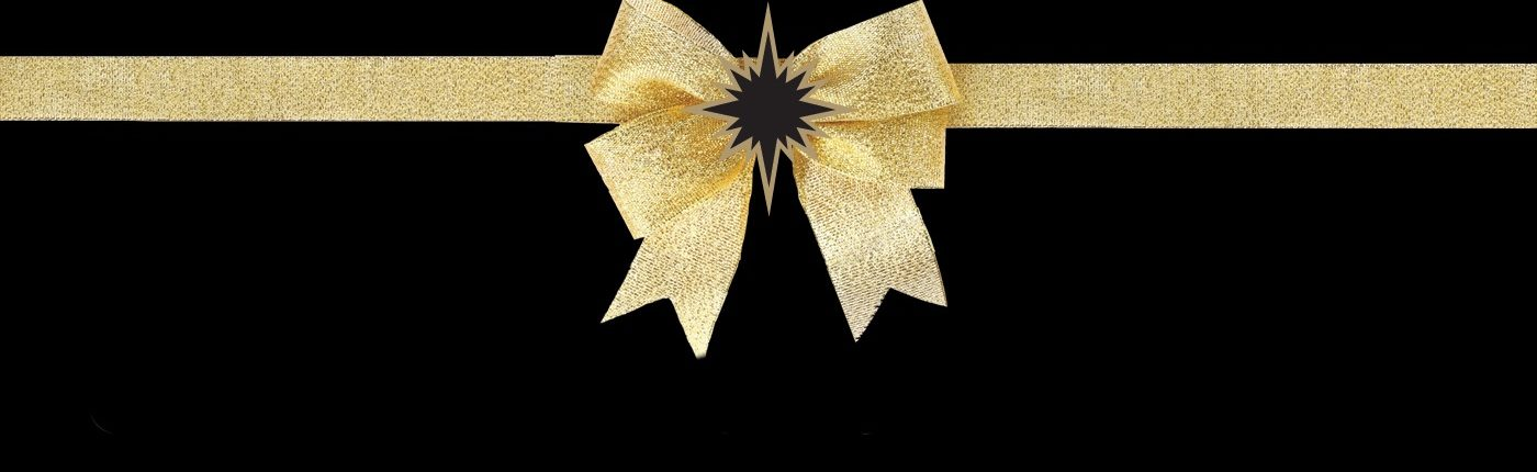 Gold bow with black and gold logo star.