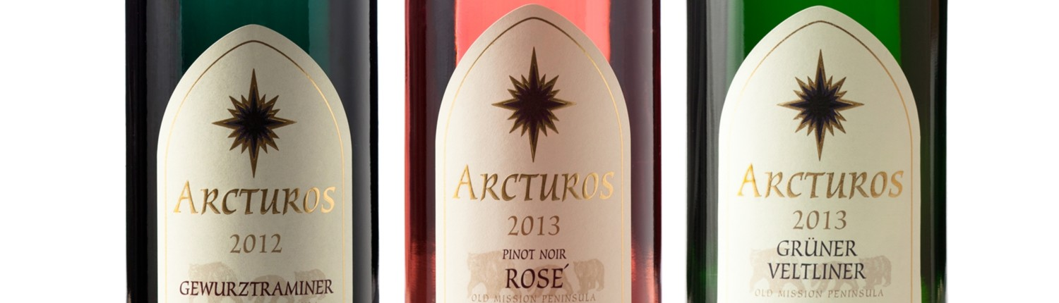 Bottle images of Gewurztraminer, Pinot Noir Rose, and Gruner Veltliner from our Arcturos line.