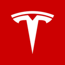 Tesla logo with a link to Tesla charging stations.