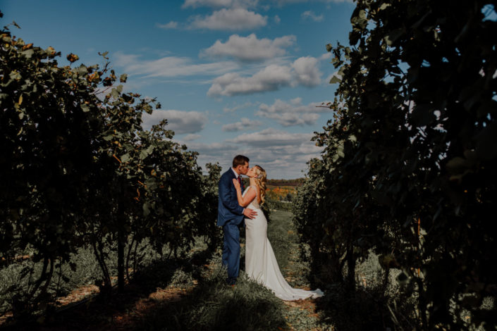 Bride and groom kissing among the vines at Black Star Farms Suttons Bay.