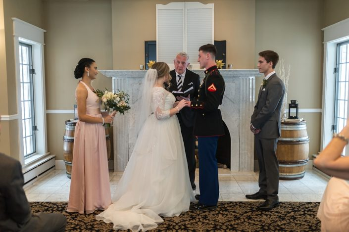 Small wedding ceremony in the Arcturos Room at the Inn at Black Star Farms.
