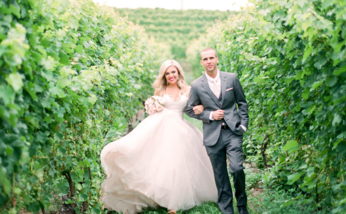 Bride and groom walking between the vines at Black Star Farms Suttons Bay.