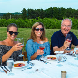 Dining in the vineyard at Black Star Farms Suttons Bay.