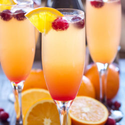Example of mimosas with fresh cranberries and orange slices.