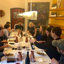Black Star Farms group and other guests enjoying lunch and wine at Foradori winery in Trentino-Alto Adige, Italy.