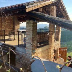 Structure with tasting patio in the hills of Miotto's vineyards in Prosecco country, Italy.
