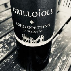 A bottle of Schioppettino red wine from Grillo Iole Winery, Italy.
