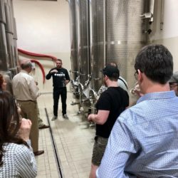 Black Star Farms group tank tasting Prosecco at Miotto Winery in Italy.