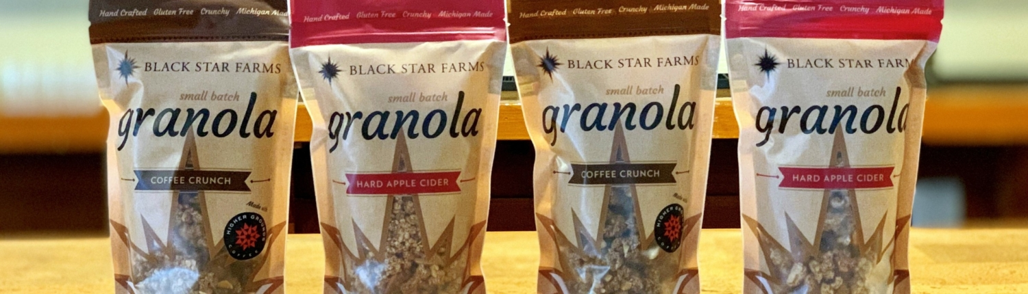 Bags of Black Star Farms Hard Apple Cider and Coffee Crunch House-Made Granola