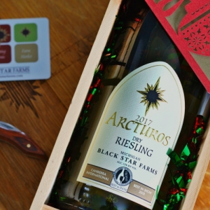 Arcturos Dry Riesling in gift box with wood wine opener and gift card.