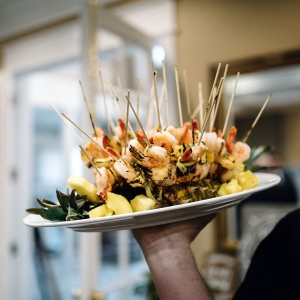 Passed shrimp appetizers from the catering department at Black Star Farms.