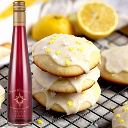 Lemon ricotta cookies with a bottle of Sirius Raspberry Dessert Wine.
