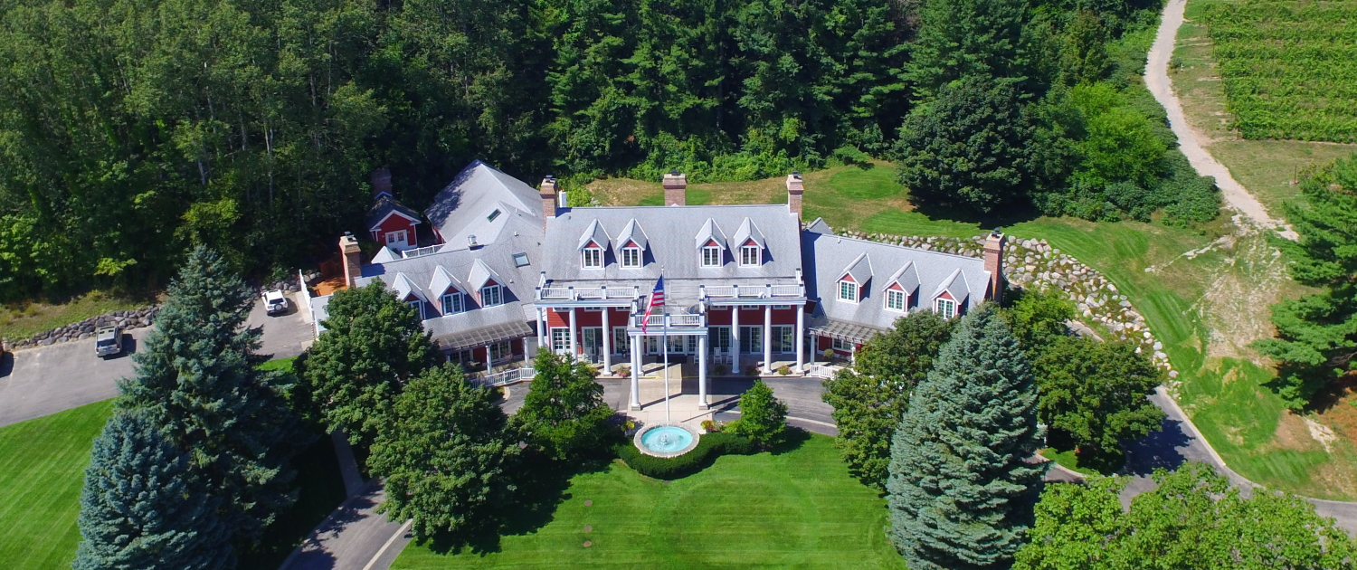 Aerial view of the Inn at Black Star Farms.