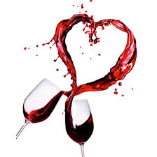 Decorative photo of two wine glasses clinking together with red wine splashing in a heart formation.
