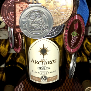 Award-winning 2017 Arcturos Dry Riesling with many medals.
