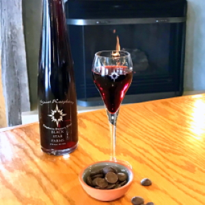 Sirius Raspberry paired with chocolate at the tasting room at Black Star Farms Old Mission.