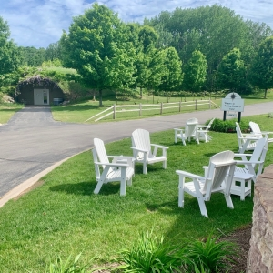 Adirondack chairs on the lawn at the Suttons Bay tasting room.