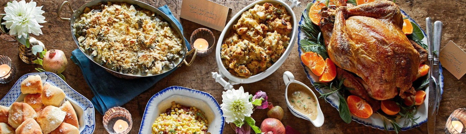 Example of Thanksgiving dinner dinner with turkey and sides,