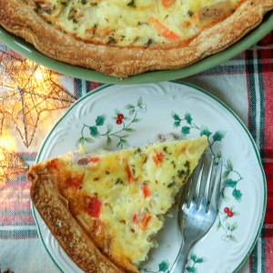 Example of ham and cheese quiche.