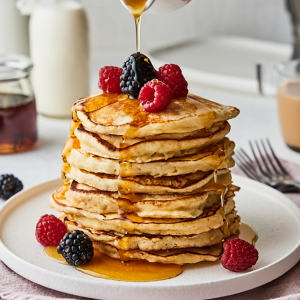Example of buttermilk pancakes with berries.