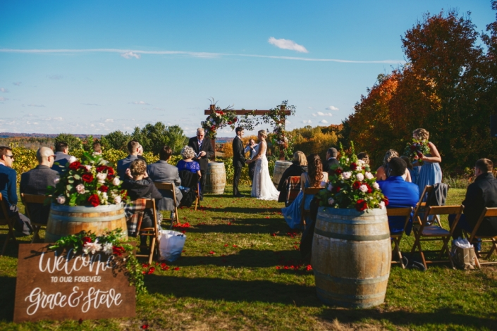 Small wedding atop our vineyard during fall.