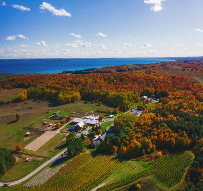 Ariel shot of Black Star Farms Suttons Bay in fall.