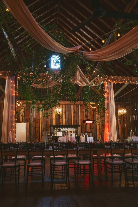 Inside the Pegasus Barn decorated for a wedding reception.