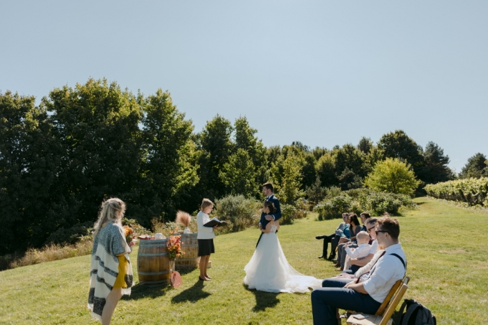 Small wedding ceremony in the vineyard.