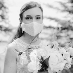 Bride wearing a protective face mask.