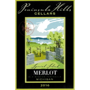 Label of Peninsula Hills Merlot.