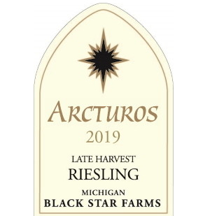 Label for the 2019 Arcturos Late Harvest Riesling.