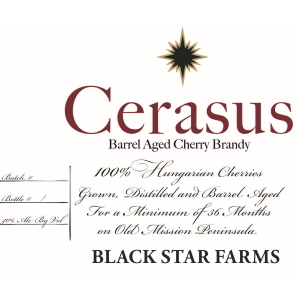 Label for the barrel-aged cherry brandy.