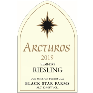 Label for the 2019 Arcturos Semi-Dry Riesling.