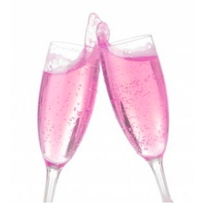 Two flutes with sparkling rose wine.